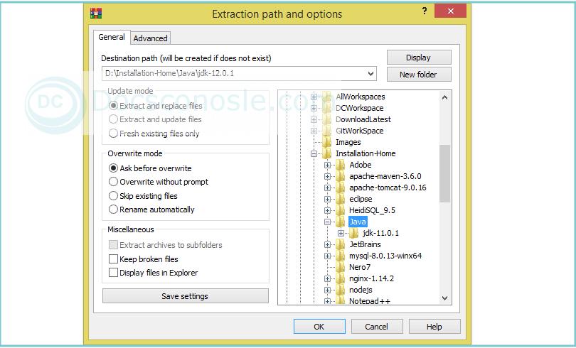 Java installation by extracting zip