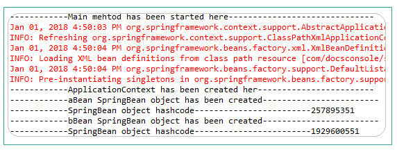 Spring Bean Prototype Example Result